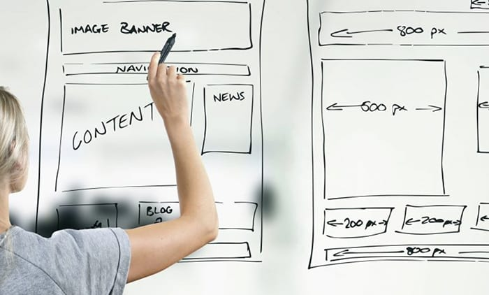 Website Design layout on a white board